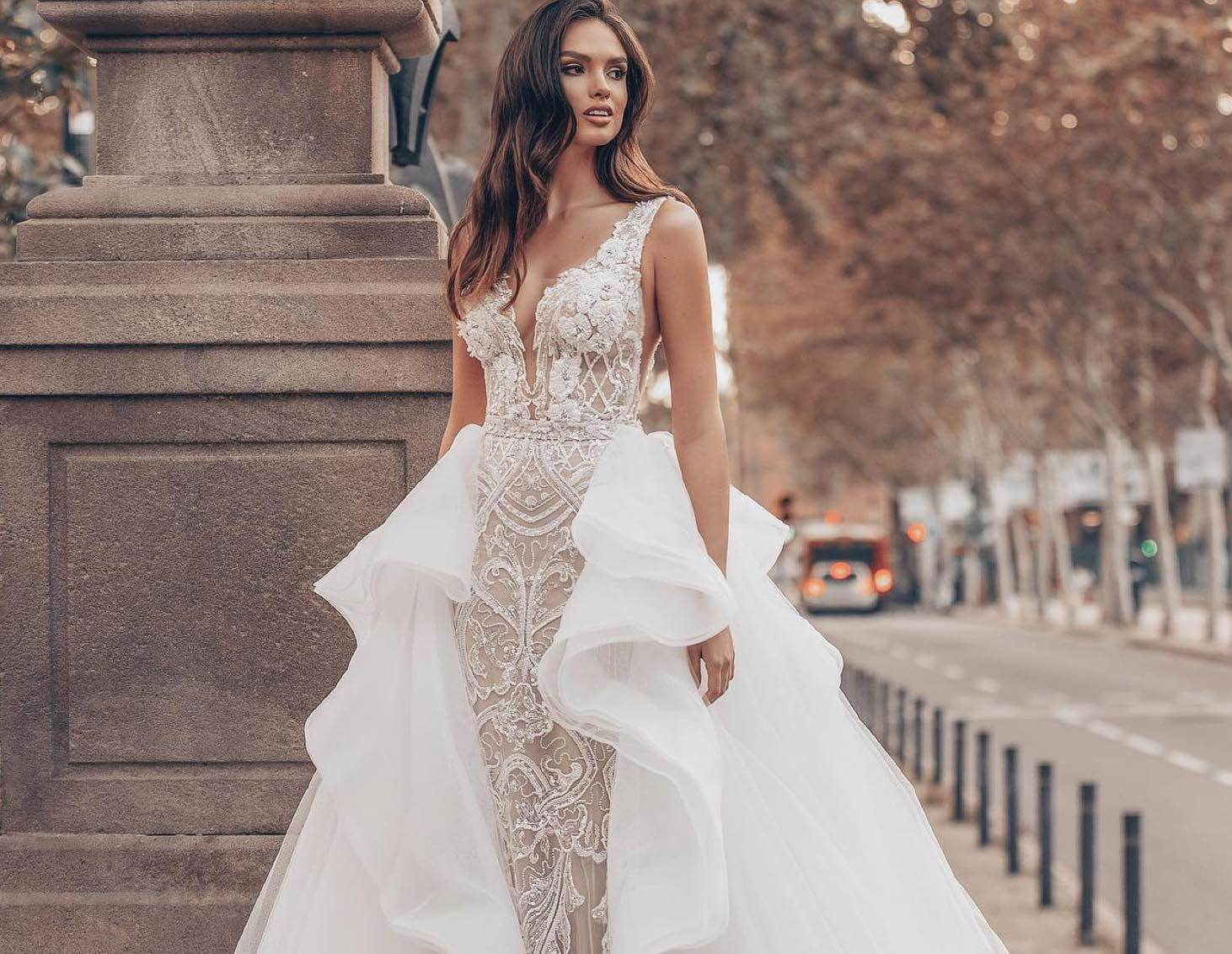 Model wearing a Giovanna Alessandro Bridal Gown